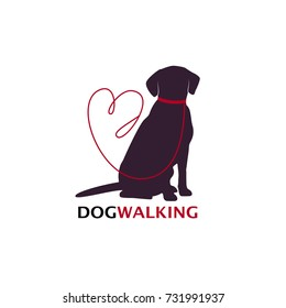 Dog walking logo template with sitting dog silhouette. Vector Illustration3