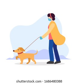Dog walking rules during quarantine. Owner girl or sitter in a sterile medical mask, with blindfold, gloves and walking a dog on a leash in a collar. Vector flat modern illustration