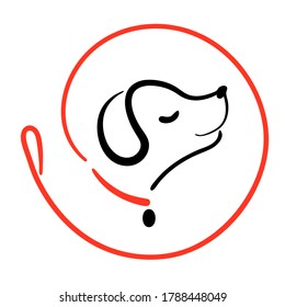 Dog walking service logo in line style on round from leash. Happy puppy training icon. Walk pet symbol in black red vector outline illustration. Simple Cartoon animal logotype.