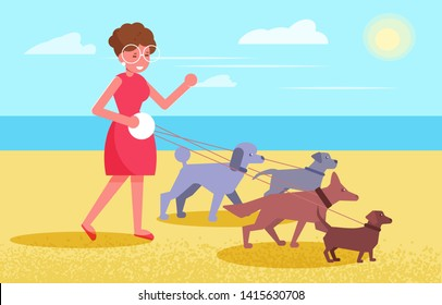 Dog walking services Woman walks with four dogs