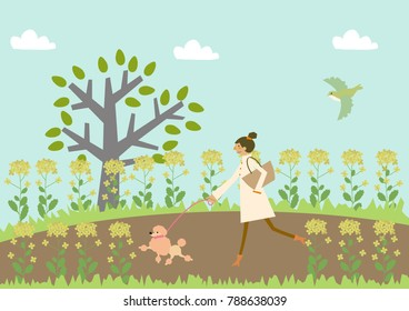 Dog walking. A woman and a dog. Image of spring. Illustration of the season. Illustration of the season.