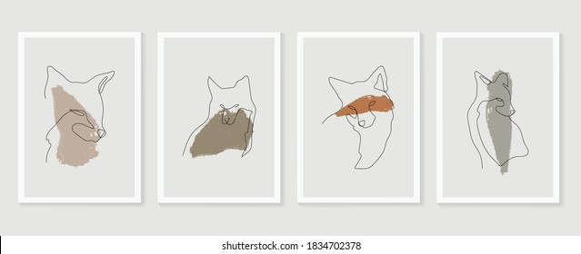 Dog wall art vector set. Earth tones animal line arts backgrounds set with fox and wolf.  Abstract Arts design for print, cover, wallpaper, Minimal and  natural wall art. Vector illustration.