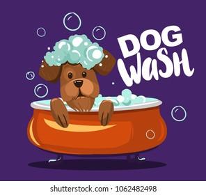 Dog wash. Grooming. Cartoon vector illustration