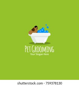 Dog wash, pet health care solution lowercase flat logo design template colorful preview