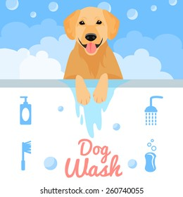 Dog washing in bath in flat style. Vector illustration