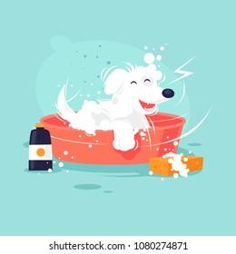 Dog washing. Flat design vector illustration.