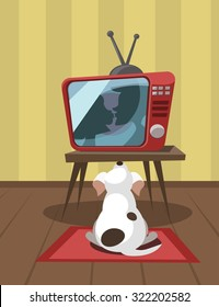 Dog watching TV. Vector