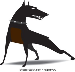 dog wearing collar with spikes snarled, ready to attack