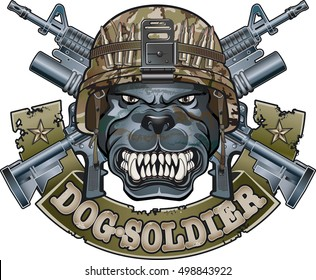 dog wearing military helmet, crossed assault rifles and banner with text dog soldier