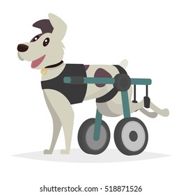 Dog in a wheelchair for the hind paws. Vector illustration in a flat style