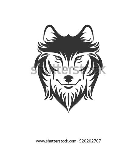 dog wolf head logo icon one のベクター画像素材 ロイヤリティフリー