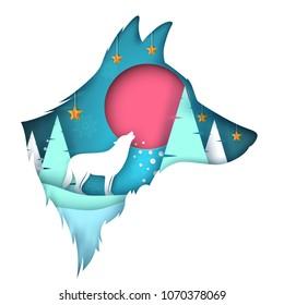 Dog, wolf illustration. Cartoon paper landscape Vector eps 10