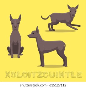 Dog Xoloitzcuintle Cartoon Vector Illustration