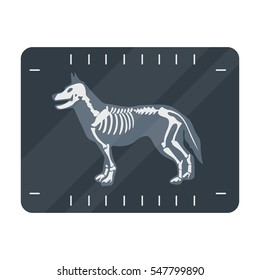 Dog x-ray icon in cartoon style isolated on white background. Veterinary clinic symbol stock vector illustration.