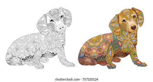 Dog zentangle styled for T - shirt design, tattoo and other decorations. Dog for coloring and painted specimen