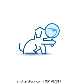 Dog with zoom lens - search metaphor and logo template