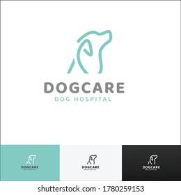 Dogcare Logo, Dog Hospital logo design in 4 color version