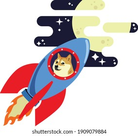 Dogecoin Dog Riding Rocket To Moon