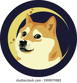 Dogecoin Doge Against Moon - Circle