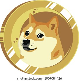 Dogecoin And Moon Design On Gold Coin