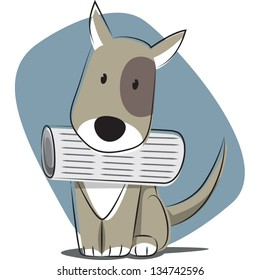 Doggy fetching newspaper.