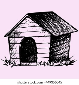 Doghouse doodle style sketch illustration hand drawn vector