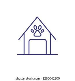 Doghouse line icon. Domestic dog, watchdog, pet accessory. Veterinary concept. Vector illustration can be used for topics like pets, pet shop, care
