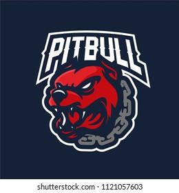 dog/pitbull/bulldog with chain necklace esport gaming mascot logo template