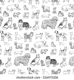 dogs animal vector line pattern