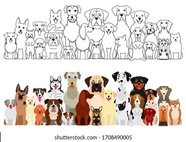 dogs big group, line art and color set