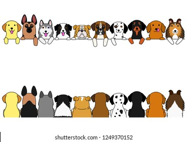 dogs border set, large dogs, front side and back side