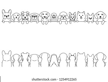 dogs border set, small dogs, front side and back side