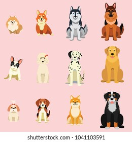 Dogs, Breed as icon cartoon style, Shiba inu, French bulldog, corgi, Siberian Husky, Dalmatian, in icon collection set.