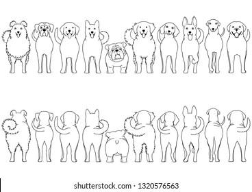 dogs breed line art border set