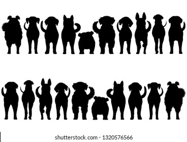dogs breed silhouette border set