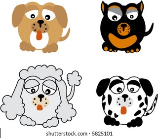 dogs breeds caricature happy and funny