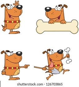Dogs Cartoon Mascot Characters-Vector Collection