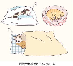 Dogs and cats funny sleeping poses. Animals are cutting pillows like humans. hand drawn style vector design illustrations.