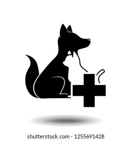 Dogs and cats and pet veterinary care logo icon on white background.