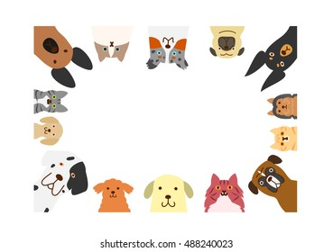 dogs and cats rectangle frame