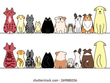 dogs and cats in a row with copy space,front and back