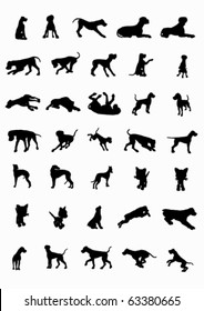 Dogs and cats siluetes in movement  (vector)