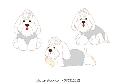 The dogs. Character pets. on white background.