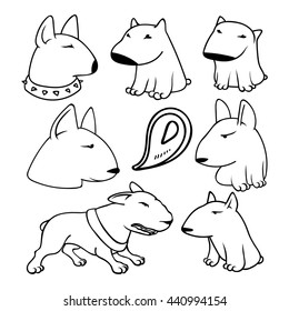 Dogs characters pitbull. Funny animals cartoon doodle dog.