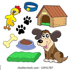 Dogs collection on white background - vector illustration.