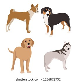 Dogs collection. Set of dogs. Vector illustration of funny cartoon. Isolated on white