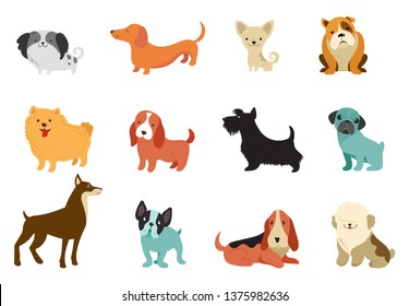 Dogs collection of vector illustrations. Funny cartoon different breeds dogs in flat style