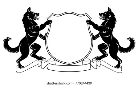 Dogs crest coat of arms heraldic shield with dog on each side flanking rampant on hind legs