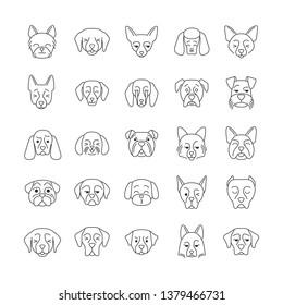 Dogs cute kawaii linear characters. Thin line icon set. Animals with smiling muzzles. Smirking Mini Schnauzer. Kissing Maltese. Winking Doberman. Vector isolated outline illustration. Editable stroke