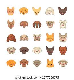 Dogs cute kawaii vector characters. Animals with smiling muzzles. Smirking Mini Schnauzer. Kissing Maltese. Winking Doberman. Funny emoji, stickers, emoticon set. Isolated cartoon color illustration